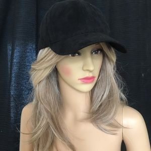 Accessories - NEW! Black faux suede baseball hat